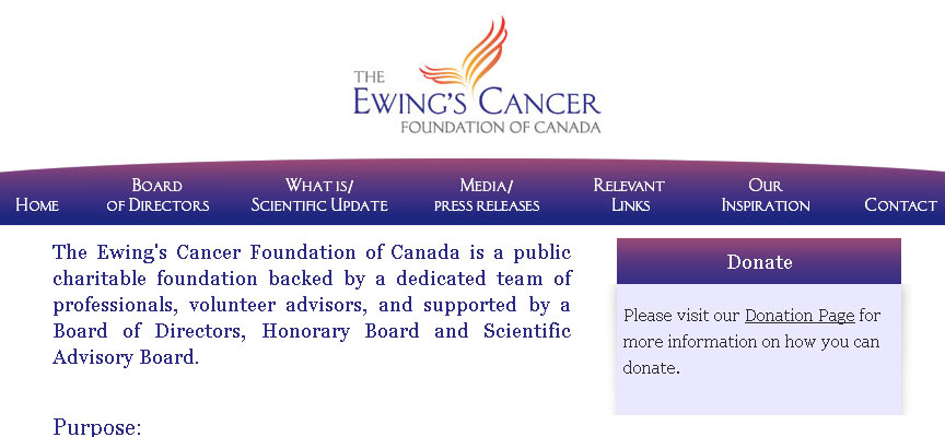 Ewing's Cancer Website - Full Size Screen Capture