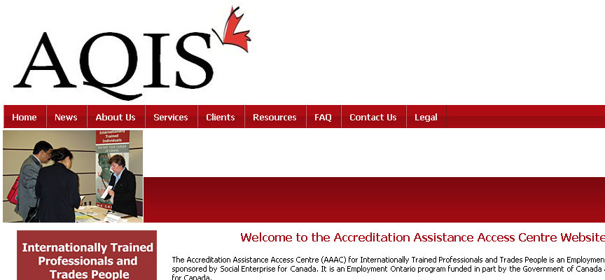 Accreditation Assistance Access Centre Website - Full Size Screen Capture