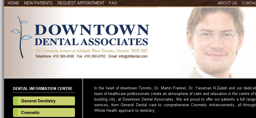 Downtown Dental Associates Website - Full Size Screen Capture