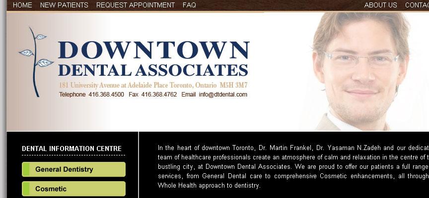 Downtown Dental Associates Website - Full Size Screen Capture