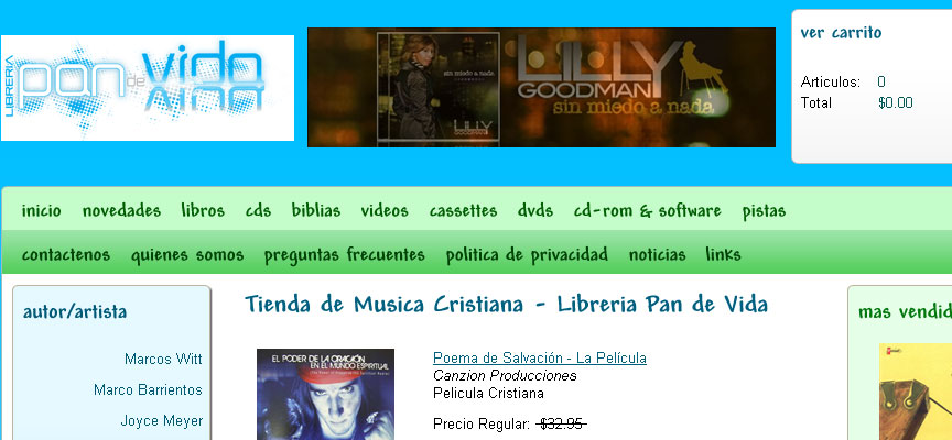 Libreria Pan de Vida Website - Full Size Screen Capture