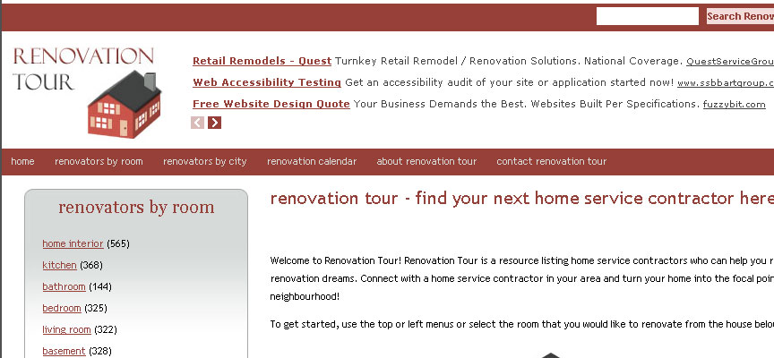 Renovation Tour Website - Full Size Screen Capture