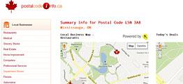 Postal Code Info Small Portfolio Screen Capture